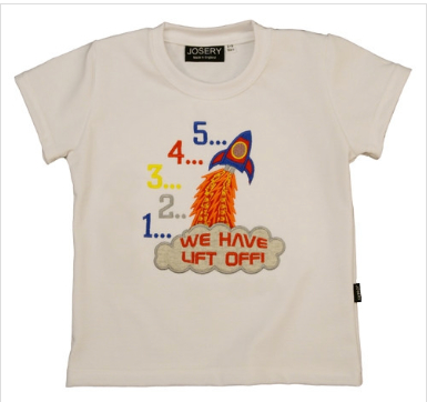 Josery J910 Child's T-Shirt with rocket design. Fabric and garment British made.