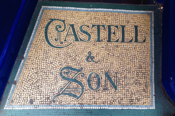The beautiful mosaic on the floor in the shop entrance to Castell & Son, 13 Broad Street (Oxford), September 2013