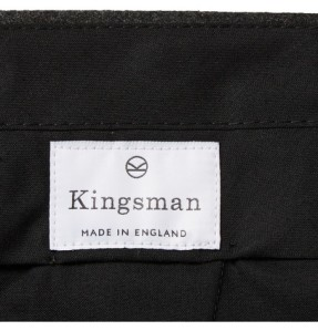 Mr Porter KINGSMAN CHARCOAL WOOL-FLANNEL TROUSERS. Made in England. Label detail.