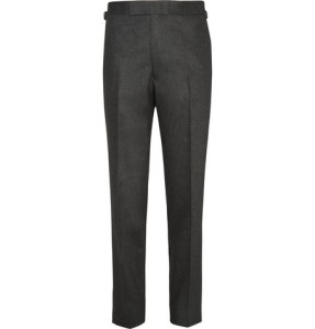 Mr Porter KINGSMAN CHARCOAL WOOL-FLANNEL TROUSERS. Made in England.