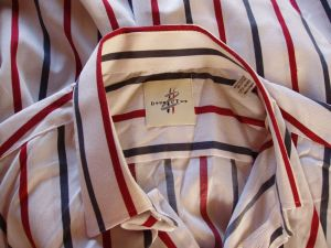 A vintage Double two Man's Shirt - Stripes - Size 17 1/2. Made in England. Label view