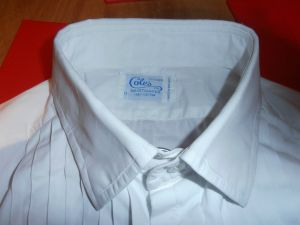 A vintage made in England Coles Ltd White Pleated Evening Dress Shirt size 17