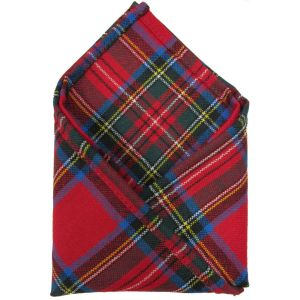 Ingles Buchan 100% Wool Tartan Dress Pocket Handkerchiefs 10.5 x 10.5 Inches. Made in Scotland