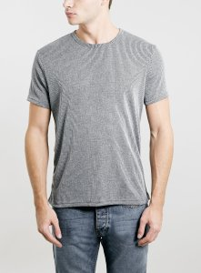 Top Man Grey Slim Fit Ribbed T-Shirt. 51% polyester, 49% viscose. Machine washable. Made in Britain