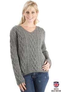 Sweateronline Paul James The Yorkshire - Grey - Womens Aran Jumper. Made from 100% British wool.