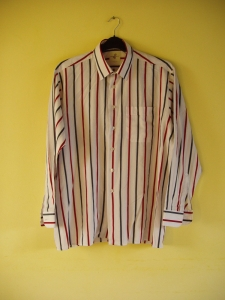 A vintage Double two Man's Shirt - Stripes - Size 17 1:2. Made in England. Front view