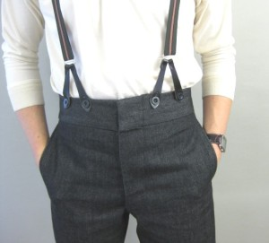 Black Denim High Waist Trousers (TR204) at Darcy Clothing. Made in England.