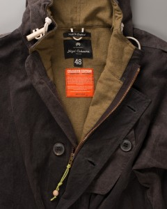 Nigel Cabourn Cold Weather Parka (CWP) Twist. Labelling detail. Made in England and Scotland.