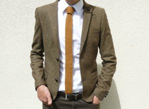 vKnit Skinny Knitted Tie in Golden Mustard Brown Lambswool. Made in England.