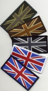 Jacquard Weaving Company Union Flag Badges, Velcro back 9.8cmx4.9cm. Made in the UK. Alos available sew on Union Flag badges / patches.