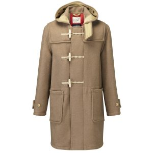 GLOVERALL MENS UNION JACK MONTY DUFFLE COAT, in beige. Made in England (using Italina fabric).