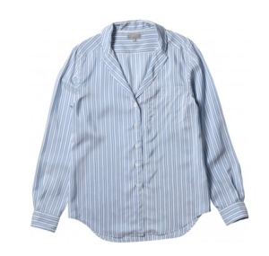 Margaret Howell TINY REVER ladies SHIRT NARROW PJ STRIPE BLUE:MUSTARD. Made in England