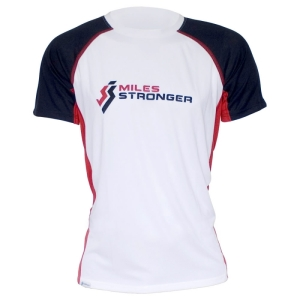 Miles Stronger Mens Running Technical T-Shirt. Made in Great Britain.