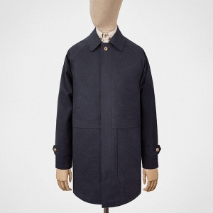 S.E.H KELLY Car coat in navy blue Ventile cotton. Made in England.