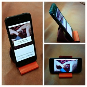 The Trove wallet being used as a phone stand