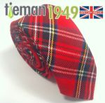 Wrexham Club Ties Royal Stewart Tartan Skinny Tie. Made in the UK.