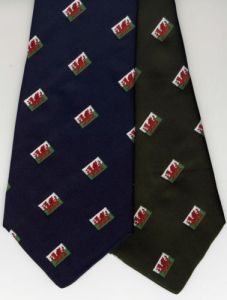 Jacquard Weaving Company Wales Flag Dragon Men's Neck Tie, UK Manufactured.