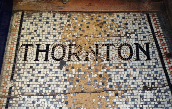 Another floor mosaic at the nearby former Thornton's Bookshop (now The Buttery), 11 Broad Street, August 2013