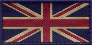 Union Jack UK Flag Badge Patch Vintage Dark Tones 9.8 x 4.9cm. Made in the UK.