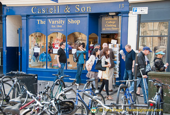Castell & Sons - the varsity shop at 13 Broad Street. Undated but around 2014.