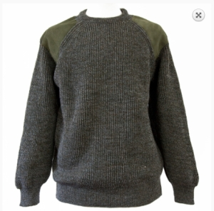Woolyknit Men's Crew Neck Patch Sweater - Derby Tweed. Knitted in England using 100% pure British wool and washable suede.