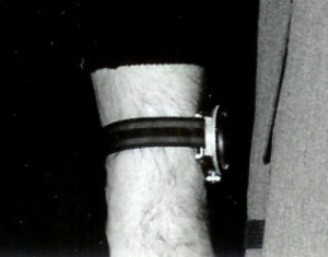 Production picture of Sir Sean Connery wearing the Rolex 6538(A) on nylon strap, Thunderball, 1966