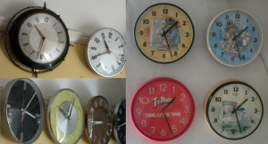 Typical Metamec clocks, dating from the 1960s to 1980s.