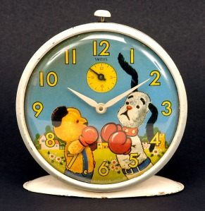 Vintage Smiths Sooty and Sweep Alarm Clock, 1960's. Made in Great Britain.