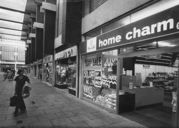 A pre-1986 photograph of the inside of the Westgate Centre (note that great menswear shop, now long gone, Dunn and Co)