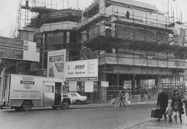 Selfridges under construction, c. 1974. Note the Selfridges and Lewis's signage on the left.