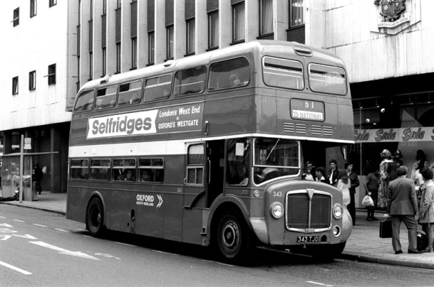 "A double decker bus advertising Selfridges in 1975 - ""City of Oxford AEC Renown 343 (343 TJO) in Luton on August 18th 1975 having worked in fromAylesbury on the 61 while on hire to United Counties."""