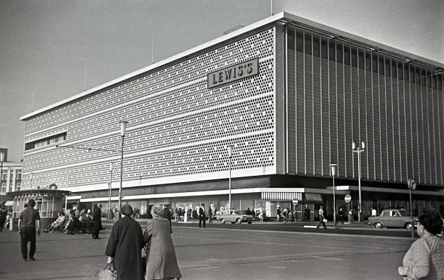 Lewis's Blackpool. Photograpgh taken in Spring 1966. This landmark department store was next to Blackpool tower. The Blackpool branch was built in 1964 and closed 1993. After closure, the frontage was removed, and most of the upper floors were demolished.