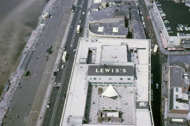 Lewis's at Blackpool. The Blackpool branch of the Liverpool-based department store Lewis's, opened in 1964, closing in 1993. This is the view of the roof from the tower on 4 June 1970.