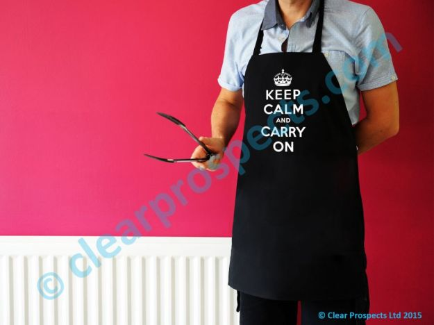Happy Snap Gifts slogan aprons - Keep Calm and Carry On. British made.