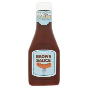 Tesco Brown Sauce 330G. Produced in the UK. Front view.