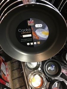 Cooks Choice by Harbenware made in Great Britain frying pan in Milton Keynes outdoor market on 10th November 2015.