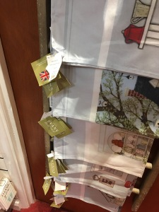 Evans Lichfield British made tea towels on display in the Box of Delights gift shop in Flitwick
