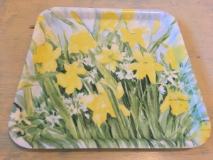 A Melamaster square daffodil flowers melamine tray (top view). Photograph by author February 2017.