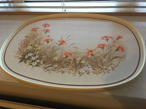 A vintage large melamine covered tray from St Michael (Marks and Spencer). Flowers design. Made in the U.K. Top view. Photograph by author.