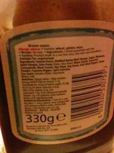 Tesco Brown Sauce 330G. Produced in the UK. Rear label view.