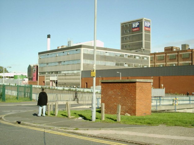 The HP Sauce factory in Birmingham in 2006. The factory was demolished in the summer of 2007. HP Sauce (now owned by Heinz) is no longer made in Britain. HP still use an image of the House of Commons on their bottles, which of course they should not.
