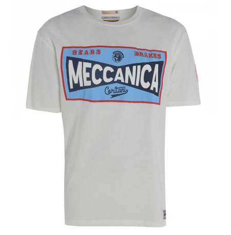 "Meccanica Toolbox T-Shirt White. 100% Cotton hand made in the UK. Upu can just make out the words ""Made in England"" on the neck label."