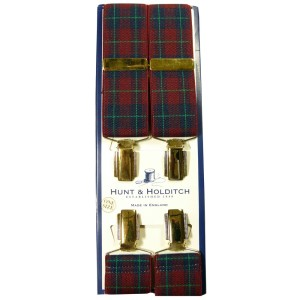 WINE TARTAN DESIGN CLIP BRACES FROM HUNT & HOLDITCH. Made in England.