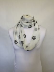 L&S Prints Black paws design infinity scarf, in jersey or chiffon, unisex. Printed, sewn and handmade in Yorkshire.