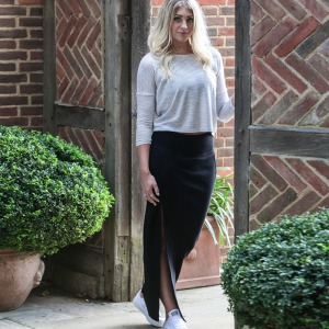 Monks on Vacation Black rib split skirt. Made in the UK from fabric milled in the UK.