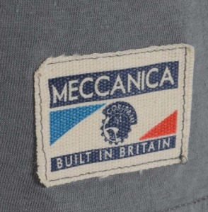 "Meccanica Parts & Supply T-Shirt Grey . 100% Cotton hand made in the UK. ""Built in Britain"" outer label detail."