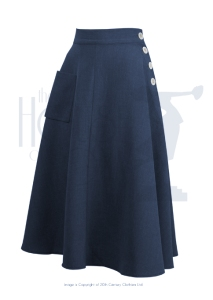 The House of Foxy 40s Whirlaway Skirt - Navy. Made in the UK.