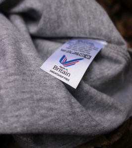 True Mountain Celebrate Britishness Grey-t-shirt. Made in Britain. Label detail.