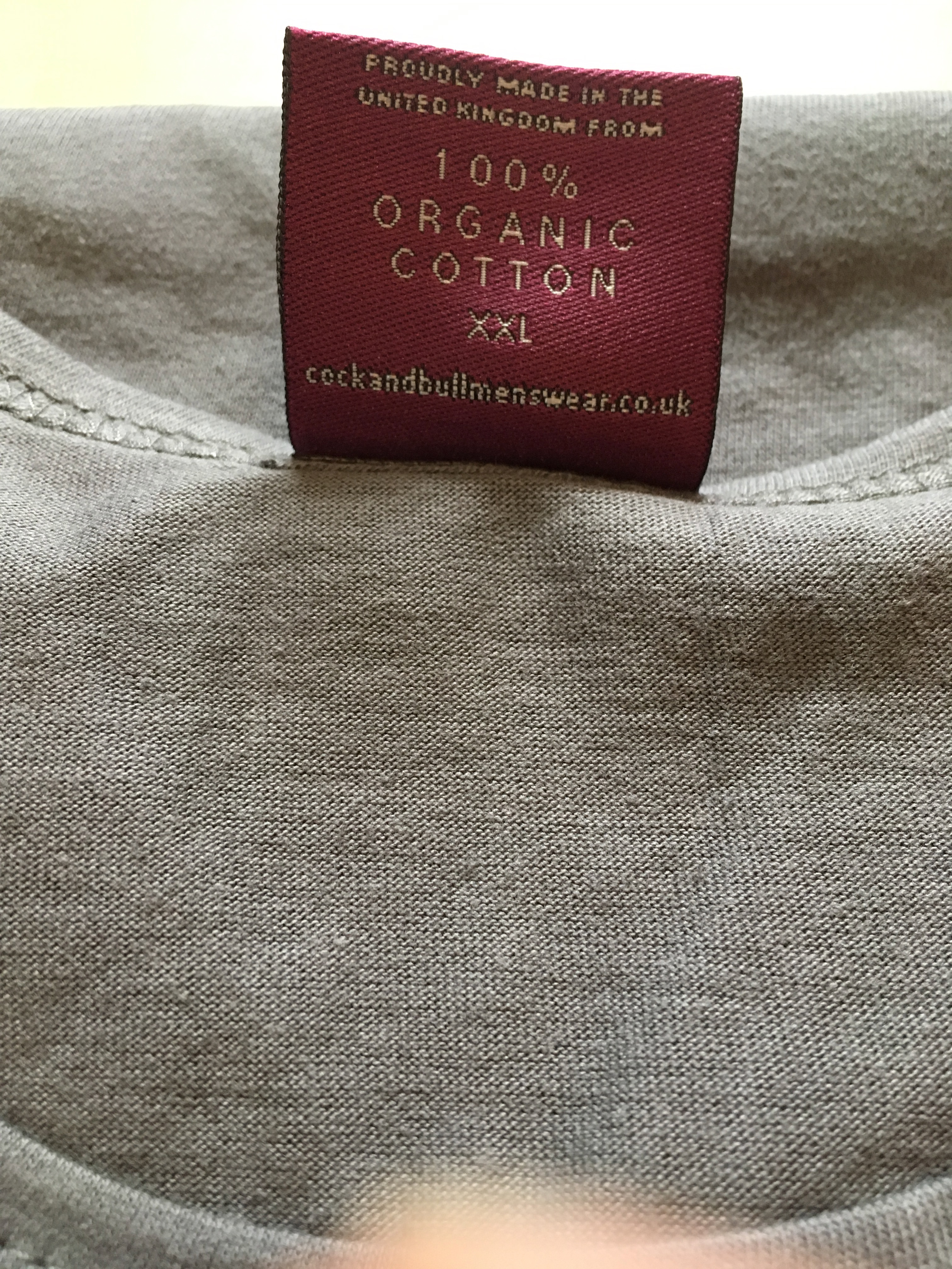 8295ed7cfbe7 Cock and Bull t-shirt. Easy Tee XXL Ash Grey. Made in the United Kingdom.  Label view. Photograph by author 10 August 2018.