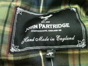 Made in England label on a vintage John Partidge black wax jacket